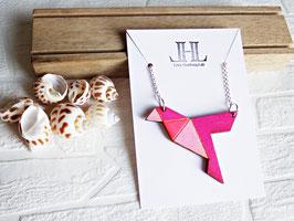 """Origami-Kette aus Holz """"Pink Bird"""""""