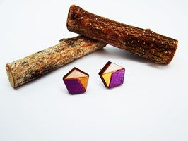 "Polygon-Ohrringe aus Holz ""Violet Polygon"""