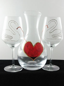 "Decanter e calici ""Cigni con cuore"""