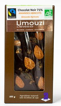 Tablettes de Chocolat noir BIO 71% amande abricot 100g