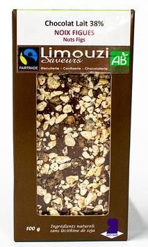 Tablettes de Chocolat lait  BIO 38% figue noix 100g