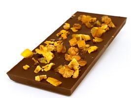 Tablettes de chocolat lait 35% noix orange 100g