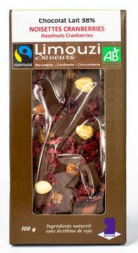 Tablettes de Chocolat lait  BIO 38% noisette cranberries 100g