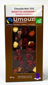Tablettes de Chocolat noir BIO 71% noisette cranberries 100g