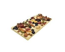 Tablettes de chocolat blanc 35% mendiants 100g