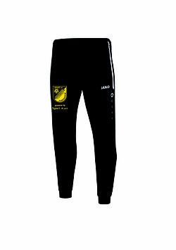 Polyesterhose (einfache Trainingshose mit Bündchen am Beinabschluß) Schwarz/Weiß