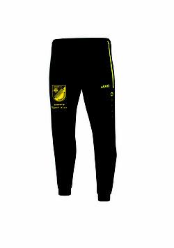 Polyesterhose (einfache Trainingshose mit Bündchen am Beinabschluß) Schwarz/Gelb