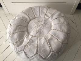 Pouf Marocain  cuir blanc /White leather Moroccan pouf
