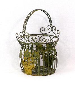 Korb mit Blumenmotiv, grün, klein