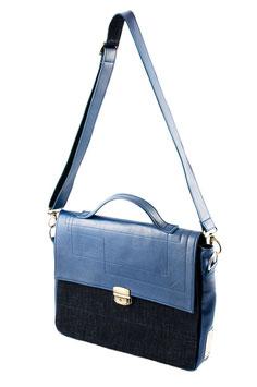 Blaue Aktentasche aus Jeans und Leder