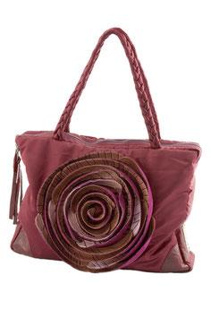 Edle Stofftasche mit handgenähter Lederblume