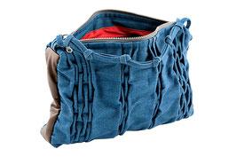 Handtasche aus Jeansstoff und Leder
