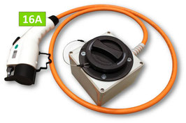 Ladekabel-Adapter, Typ 2 Dose auf Typ 1 Stecker, 16A/32A, 2 Meter