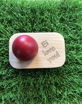 """Eierbecher """"Ei love you!"""", od. Text lt. Werbung, Rand rot oder natur, 11 x 7 cm"""