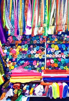 'Roll With It' - Colourful Fabric Stall Art Print