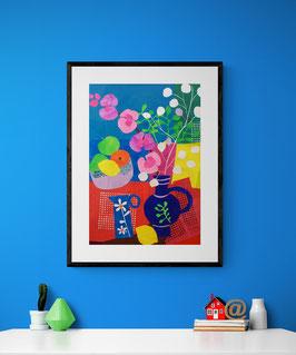 'Blue Jugs Collage' Art Print