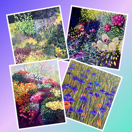 Assorted pack of 4 'Gardens' Greeting Cards