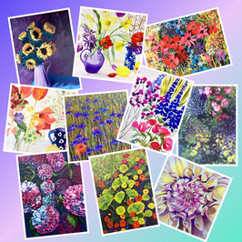 Assorted pack of 10 'Flowers' Greeting Cards