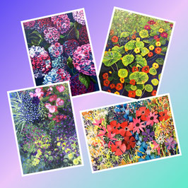 Assorted pack of 4 'Flowers' Greeting Cards
