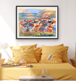 'Golden Days in Staithes' Art Print