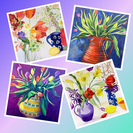 Assorted pack of 4 'Tulips' Greeting Cards