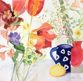 'Blue Jug & Tulips' Art Print