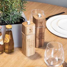Salz- und Pfeffermühle aus Holz mit Zitat von räder