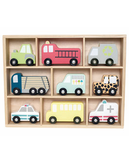 JaBaDaBaDo Holz-Autos CAR-SHELF 10-teilig in bunt