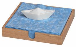 Serviettenhalter Boot aus Holz mit Porzellanschiff von räder