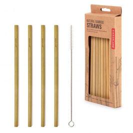 Strohhalme Bambus 8 Stück + Reinigungsbürste (Kikkerland)
