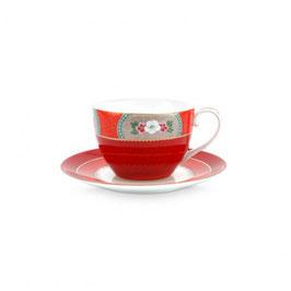 Tasse mit Unterteller 280ml Blushing Birds red
