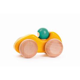 BAJO Rennwagen klein aus Holz in gelb