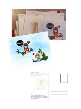 """3 Cartes Postales """"Les belles rencontres"""""""
