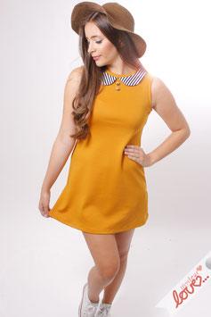 Kleid Damen Sweat Gelb Bubikragen Streifen Ärmellos