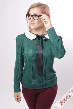 Sweatshirt Damen Sweat Uni Grün Bubikragen Weiß Langarm