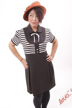 Kleid Damen Blusenkleid Jersey Streifen Schwarz Weiß Kurzarm