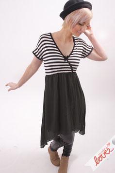 Kleid Damen Chiffon Schwarz Jersey Streifen Wickeloptik Kurzarm