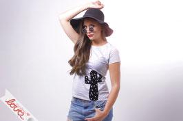 T-Shirt Damen Uni Grau  Baumwolle Print Kaktus Kurzarm