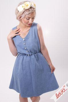 Kleid Damen Baumwolle Jeans hellblau Ärmellos V-Ausschnitt