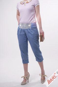 Hose Caprihose Damen Jeans Blau Spitze Creme