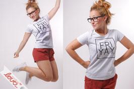 T-Shirt Damen Uni Grau Baumwolle Print Friyay Kurzarm
