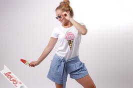 T-Shirt Damen Uni Weiß Baumwolle Print Eistüte Kurzarm