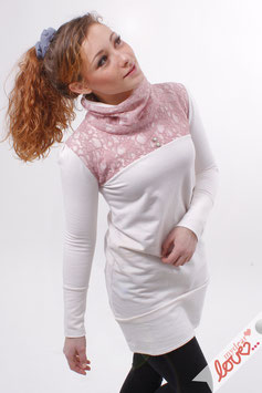 Kleid Damen Rollkragen Sweat Ecru Spitze Rosa langarm