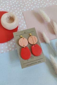 Ohrringe Kreis Mango, Tropfen halb Rot, Stecker goldfarben