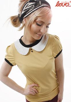 Shirt T-Shirt Damen Uni Gelb Bubikragen Punkte Weiß Kurzarm