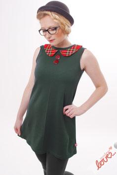 Kleid Damen Sweat Uni Dunkelgrün Bubikragen Karo Rot Ärmellos