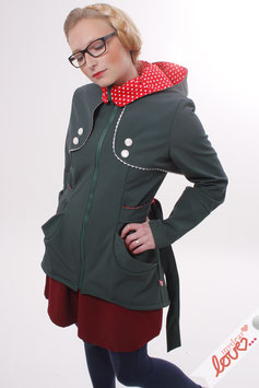 Trenchcoat Mantel Damen Softshell Dunkelgrün Rot Punkte Langarm