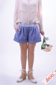 Hose Shorts Damen Uni Jeans Hellblau Spitze Weiß