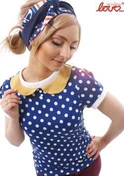 Shirt T-Shirt Damen Punkte Blau Bubikragen Gelb Kurzarm