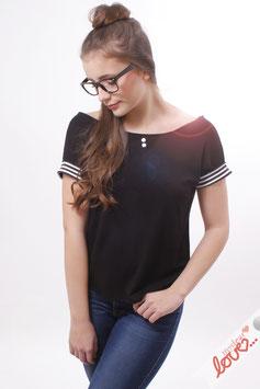 Shirt Damen Jersey Uni Marine Streifen Schleifen Rücken Kurzarm